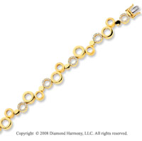 14k Yellow Gold Unique 1/2 Carat Diamond Circle Bracelet
