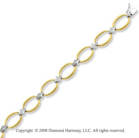 14k Two Tone Unique Diamond Oval Bracelet