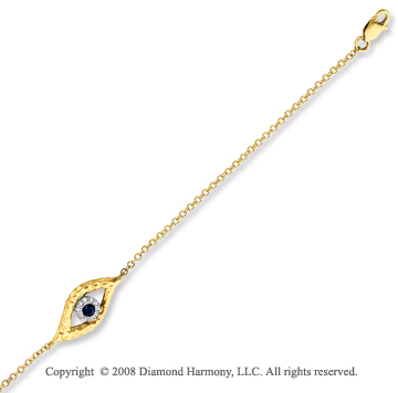 14k Hammered Yellow Gold Sapphire Diamond Eye Bracelet