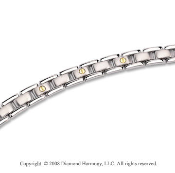 Sharp Stainless Steel & 14k Gold Men's Bracelet