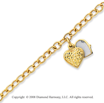 14k Yellow Gold Heart Locket Charm Bracelet