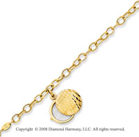 14k Yellow Gold Round Locket Charm Bracelet