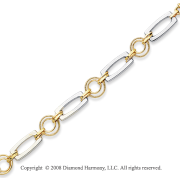 14k Two Tone Elegant Shiny Bracelet