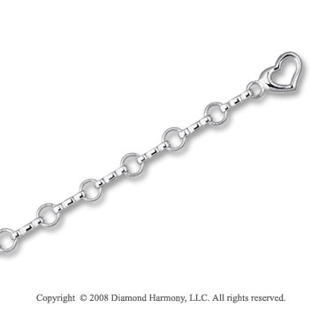 14k White Gold Heart Charm Bracelet