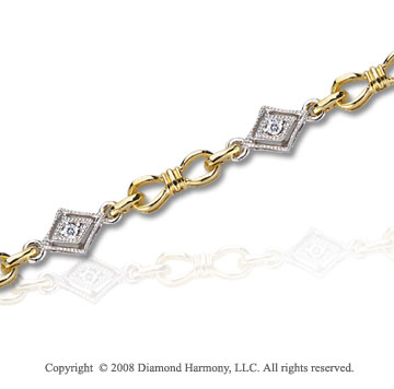14k Two Tone Gold 1/10 Carat Diamond Fashion Bracelet