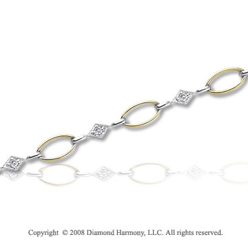 14k Two Tone Gold 1/5 Carat Diamond Fashion Bracelet