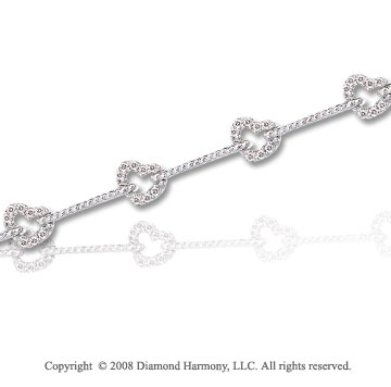 2/5 Carat Diamond 14k White Gold Heart Bracelet