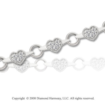 1/3 Carat Diamond 14k White Gold Heart Bracelet