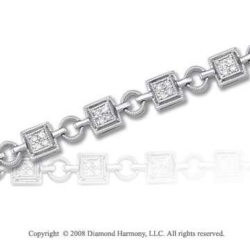 1/3 Carat Diamond 14k White Gold Square Bracelet