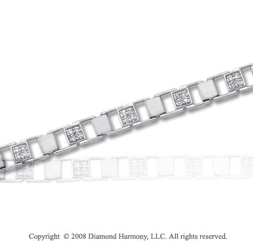1/4 Carat Diamond 14k White Gold Square Bracelet