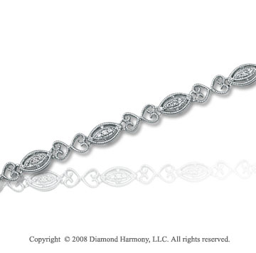1/8 Carat Diamond 14k White Gold Antique Style Bracelet