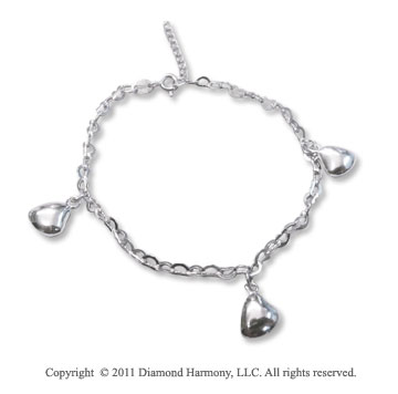 Sterling Silver Adjustable Heart Charm Bracelet