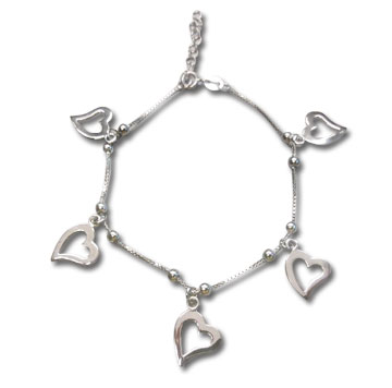 Sterling Silver Adjustable Cut Out Heart Charm Bracelet