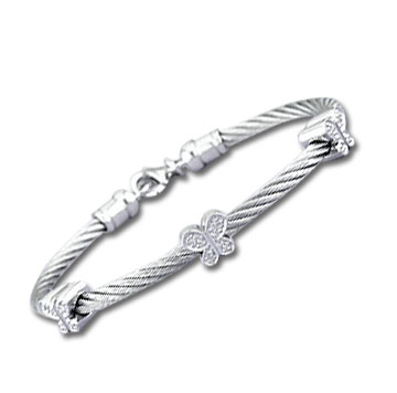 Stainless Steel Diamond Butterfly Bracelet
