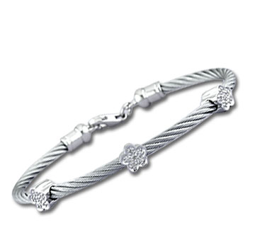 Stainless Steel Diamond Flower Bracelet