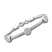 Stainless Steel Diamond Peace Sign Bracelet
