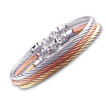 Tri-Color Stainless Steel Bracelet Set