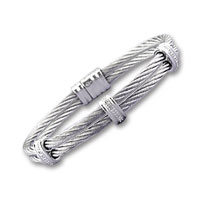 Double Row Stainless Steel Diamond Triple Bar Bracelet