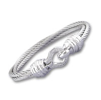 Double Row Stainless Steel Diamond Buckle Bracelet