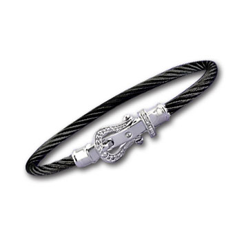 Black Stainless Steel Diamond Buckle Bracelet