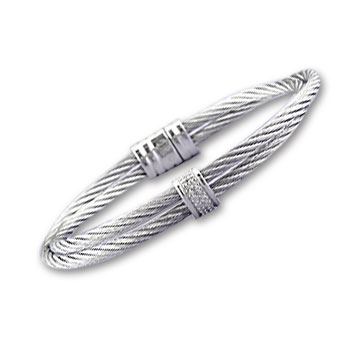 Double Row Stainless Steel Diamond Sinlge Bar Bracelet