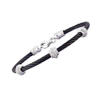 Black Stainless Steel Diamond Rondelle Bracelet