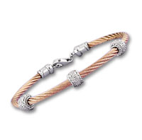 Rose Stainless Steel Diamond Rope Rondelle Bracelet