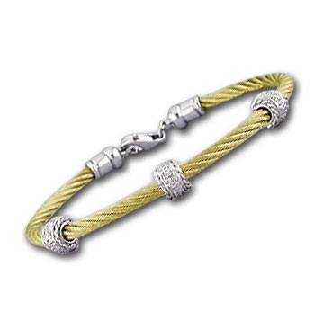 Yellow Stainless Steel Diamond Rope Rondelle Bracelet