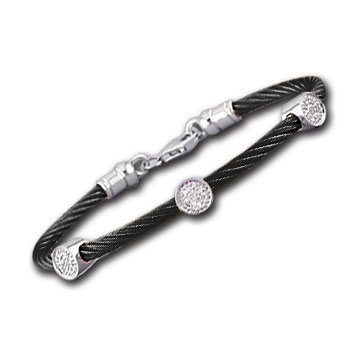 Black Stainless Steel Diamond Disk Bracelet