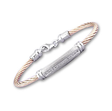 Rose Stainless Steel Diamond Single Bar Bracelet