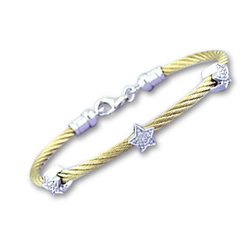 Yellow Stainless Steel Diamond Star Bracelet