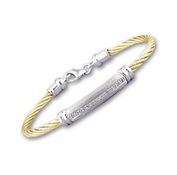 Yellow Stainless Steel Diamond Single Bar Bracelet