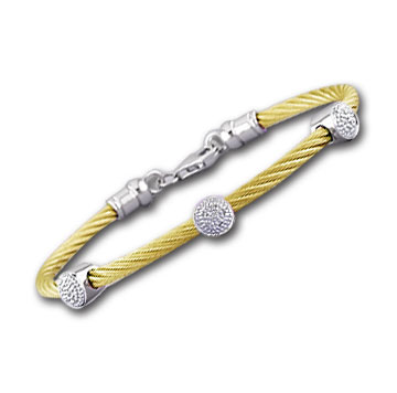 Yellow Stainless Steel Diamond Disk Bracelet