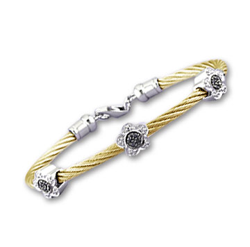 Yellow Stainless Steel Black and White Diamond Flower Bracelet