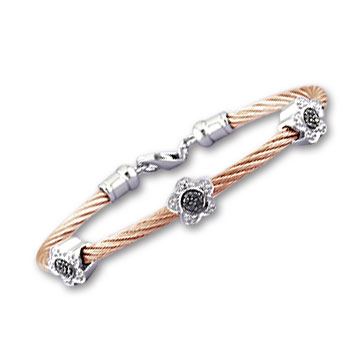 Rose Stainless Steel Black and White Diamond Flower Bracelet
