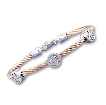 Rose Stainless Steel Diamond Peace Sign Bracelet