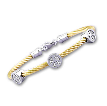 Yellow Stainless Steel Diamond Peace Sign Bracelet
