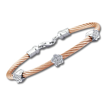 Rose Stainless Steel Diamond Flower Bracelet