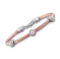 Rose Stainless Steel Diamond Rope Disk Bracelet