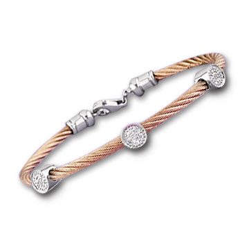 Rose Stainless Steel Diamond Disk Bracelet
