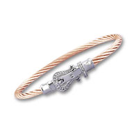 Rose Stainless Steel Diamond Buckle Bracelet