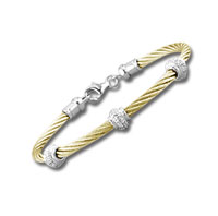 Yellow Stainless Steel Diamond Rondelle Bracelet