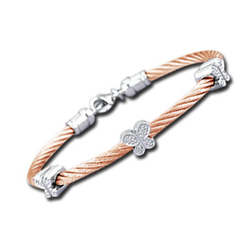 Rose Stainless Steel Diamond Butterfly Bracelet