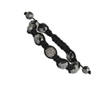 10mm Faceted Hematite and Clear Crystal Shamballa Bracelet