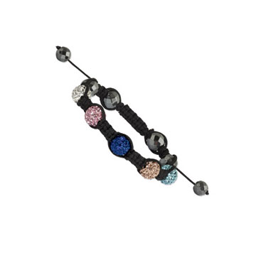 10mm Multi Color Crystal and Faceted Hematite Shamballa Bracelet