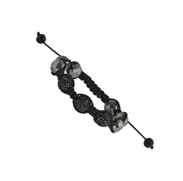 12mm Black Crystal and Hematite Shamballa Bracelet