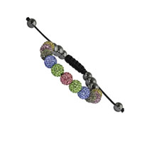 10mm Multi Color Crystal and Round Hematite Shamballa Bracelet