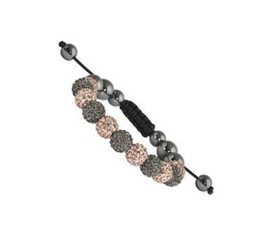 10mm Champagne and Grey Crystal and Round Hematite Shamballa Bracelet