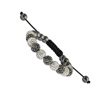 10mm Black and Clear Crystal and Round Hematite Shamballa Bracelet