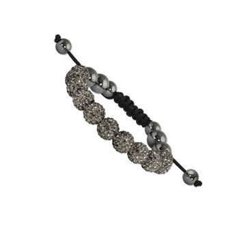 10mm Grey Crystal and Round Hematite Shamballa Bracelet